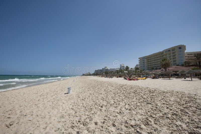 Vista da praia, Sousse, Tunísia foto de stock royalty free