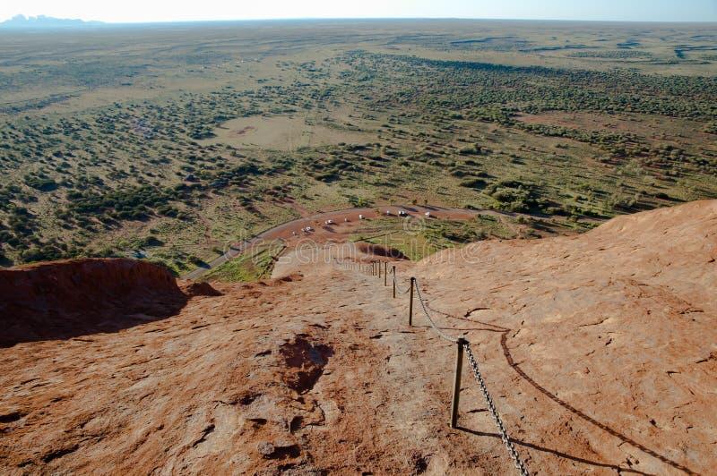 Vista da rocha de Ayers - Uluru - Austrália foto de stock