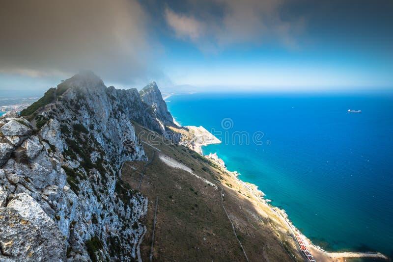 Vista da rocha de Gibraltar da rocha superior imagens de stock