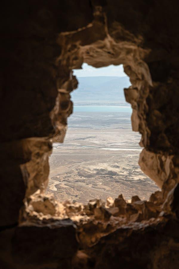 Vista da rocha do masada em Israel foto de stock royalty free