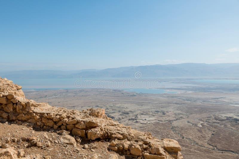 Vista da rocha do masada em Israel foto de stock