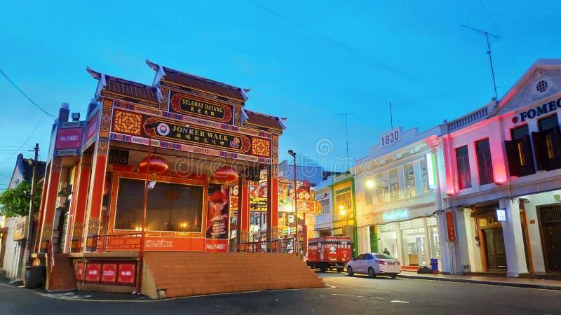 Vista da rua de Jonker em Malacca, Malásia fotos de stock royalty free