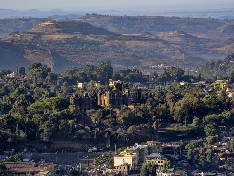 Vista da sopra al castello di Gondar, Etiopia immagini stock libere da diritti