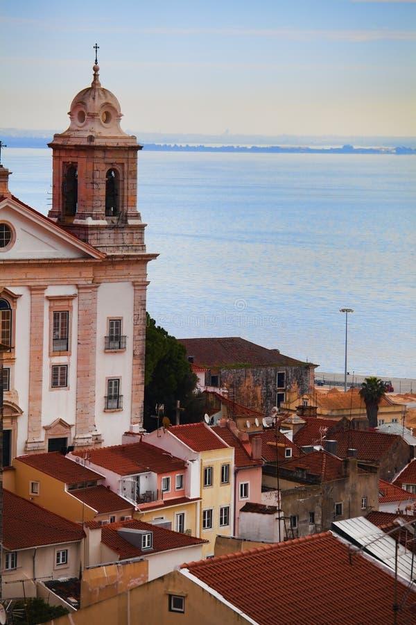 Vista da sopra sopra la città di Lisbona fotografie stock