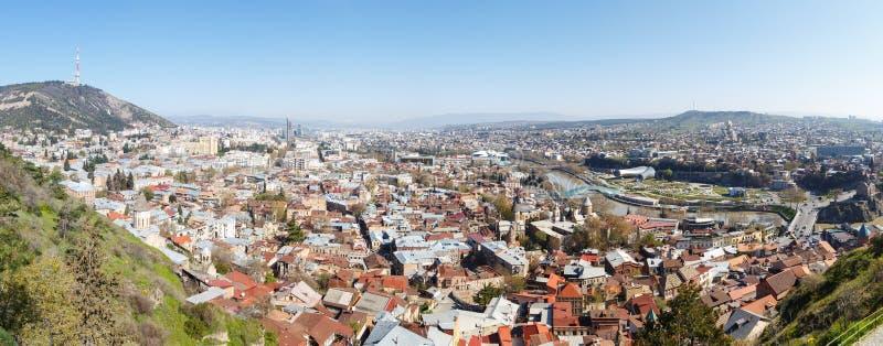 Vista da sopra sulla vecchia città, Tbilisi fotografie stock