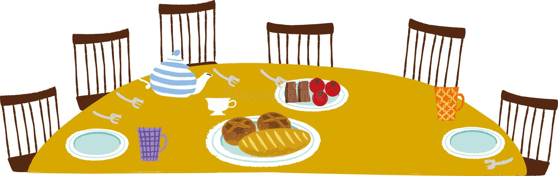 A vista da tabela de jantar ilustração stock
