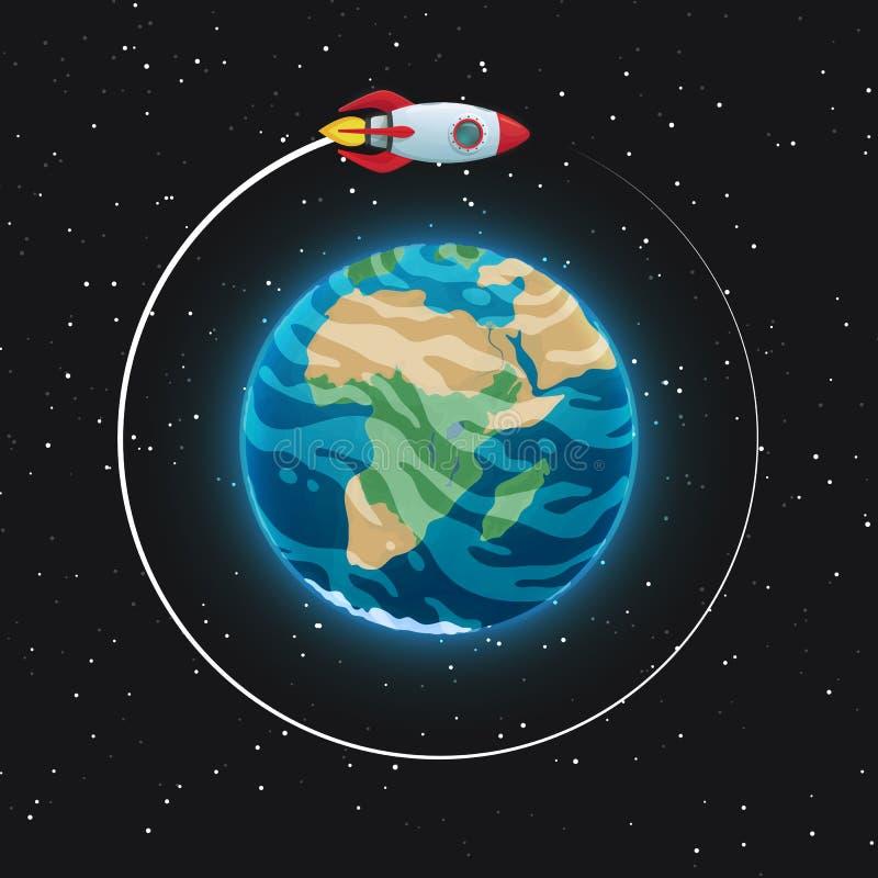 Vista da terra do planeta do espaço Esfera azul de incandescência com oceanos, continentes e nuvens na atmosfera Nave espacial no ilustração do vetor