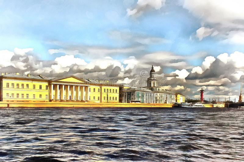 Vista da terraplenagem de Universitetskaya em St Petersburg ilustração stock