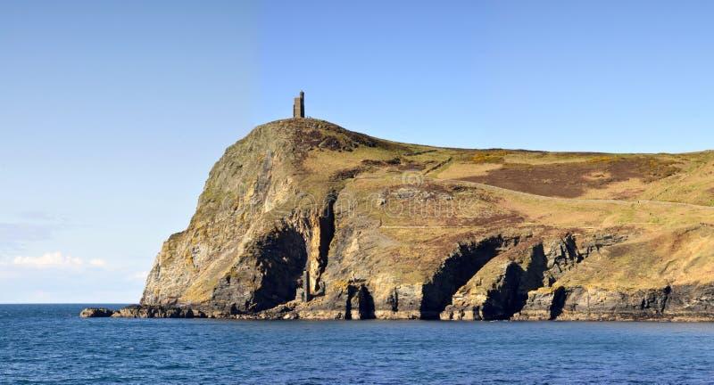 Vista da torre de Brada na ilha do homem fotografia de stock