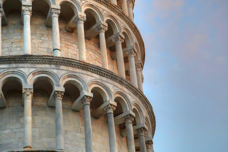 Vista da torre inclinada de Pisa, Itália fotos de stock