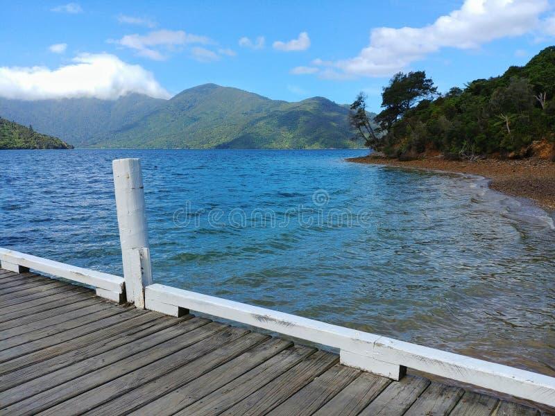 Vista da un pilastro alla regina Charlotte Sound, Marlborough, Nuova Zelanda immagine stock libera da diritti