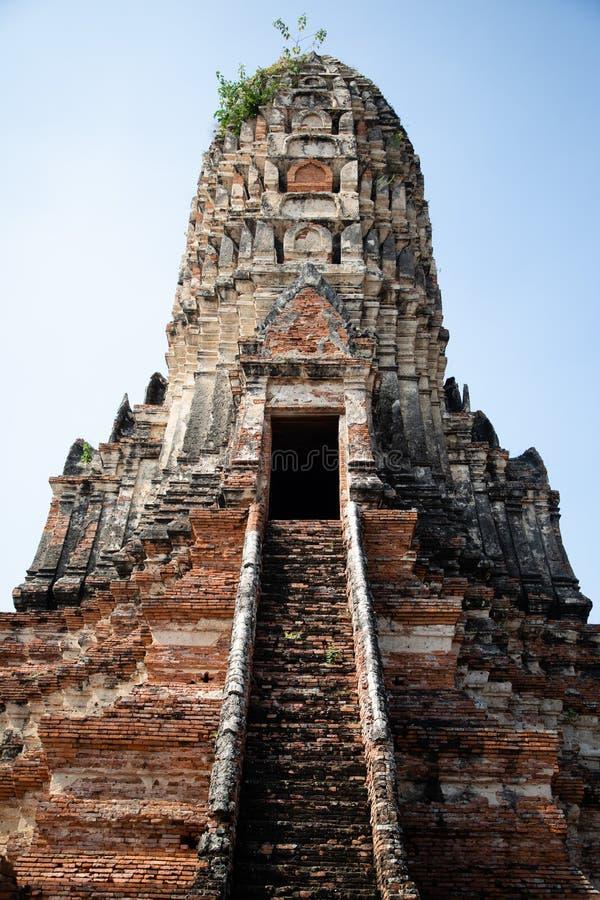 Vista da una pagoda delle rovine del tempio di Ayutthaya in Tailandia con cielo blu nei precedenti immagine stock libera da diritti