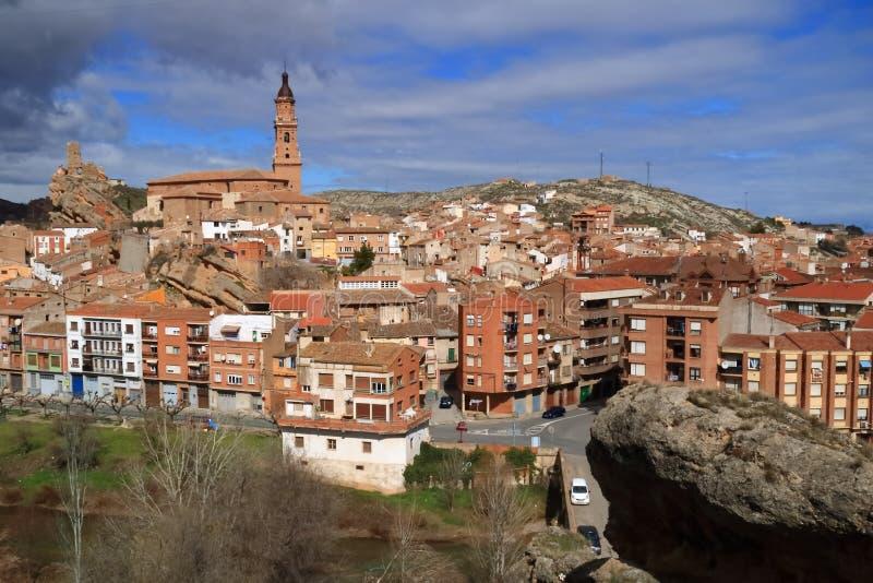Vista da vila de Autol na província de La Rioja, Espanha imagem de stock royalty free