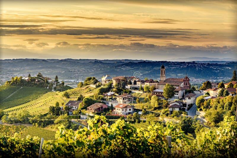 Vista da vila de Treiso no langhe, Italia do norte no fim do verão foto de stock