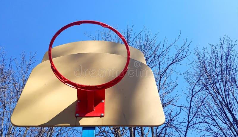 Vista dal basso di un cerchio di pallacanestro fuori su un cielo blu con i rami fotografie stock libere da diritti