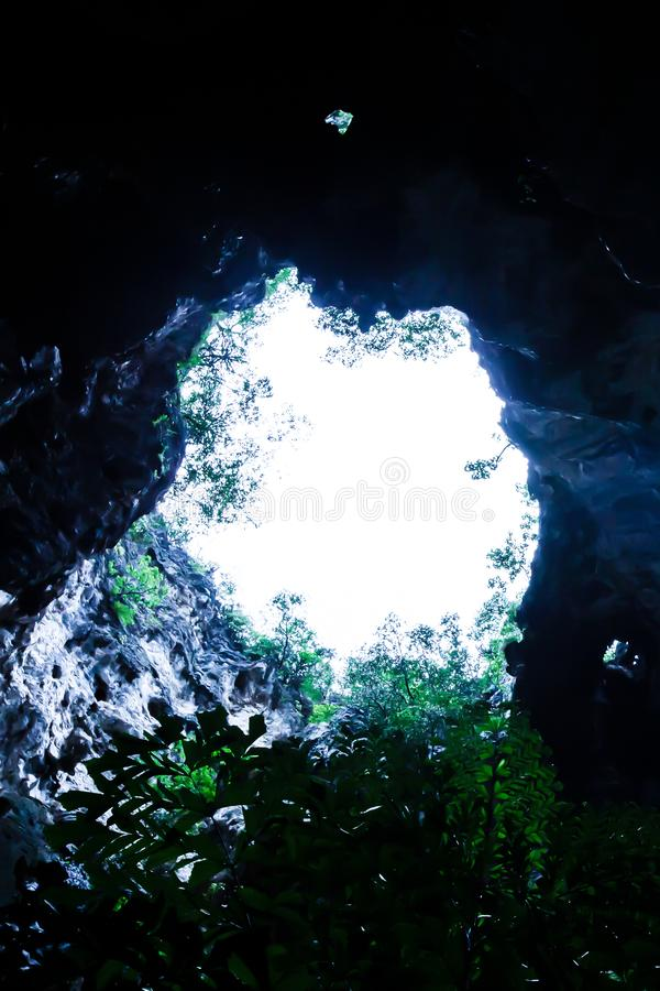 Vista dal basso, entrata antica misteriosa della caverna con le piante tropicali e cielo bianco, luce solare che irradia gi? nell fotografia stock libera da diritti