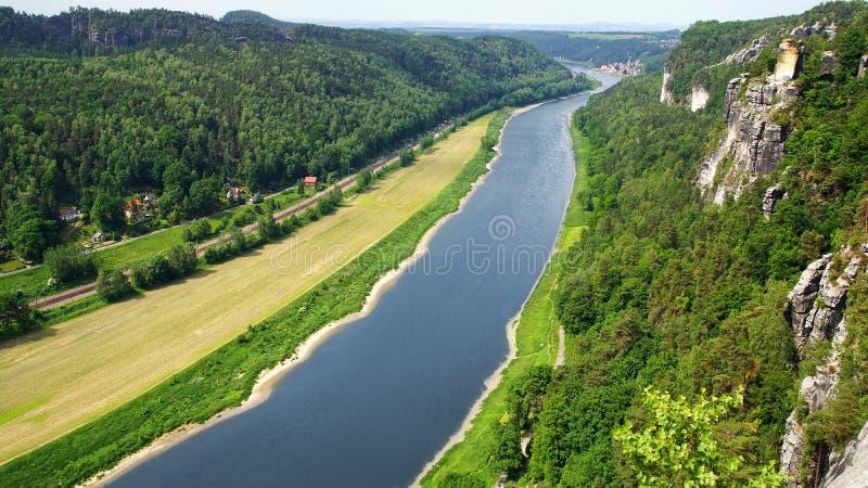 Vista dal Bastei sul fiume Elbe, Germania immagine stock libera da diritti