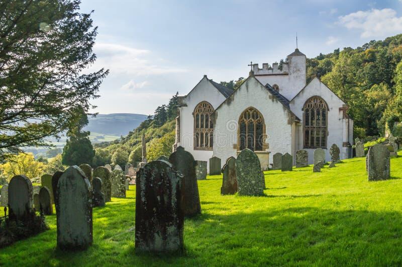Vista dal cimitero della chiesa a Selworthy, a Somerset fotografia stock