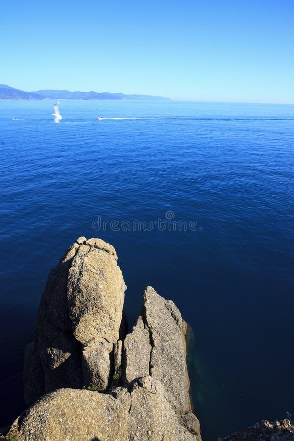 Vista dal faro di Portofino, Genova, Liguria, Italia fotografia stock