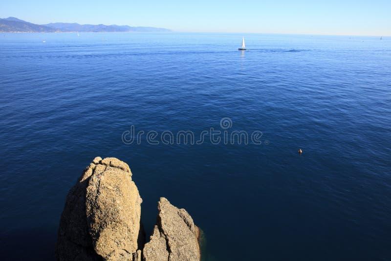 Vista dal faro di Portofino, Genova, Liguria, Italia fotografia stock libera da diritti