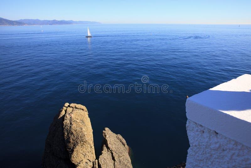 Vista dal faro di Portofino, Genova, Liguria, Italia immagini stock