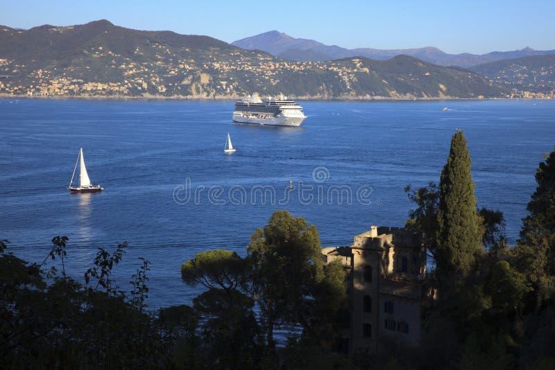 Vista dal faro di Portofino, Genova, Liguria, Italia immagine stock libera da diritti