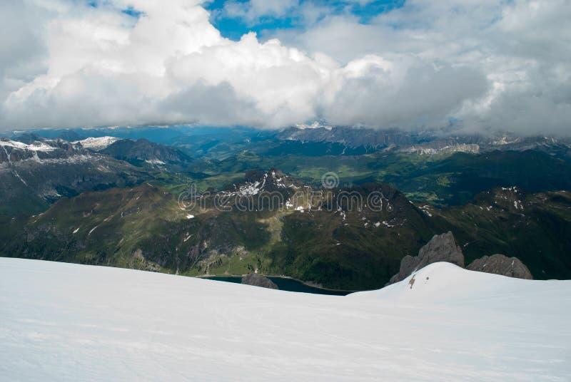Vista dal ghiacciaio di Marmolada fotografie stock