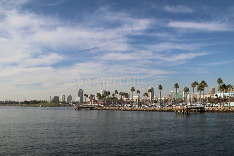 Vista dal mare a Long Beach, Long Beach, California immagine stock