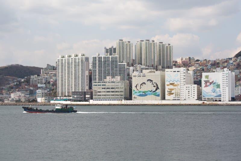 Vista dal mare su una città Busan fotografia stock