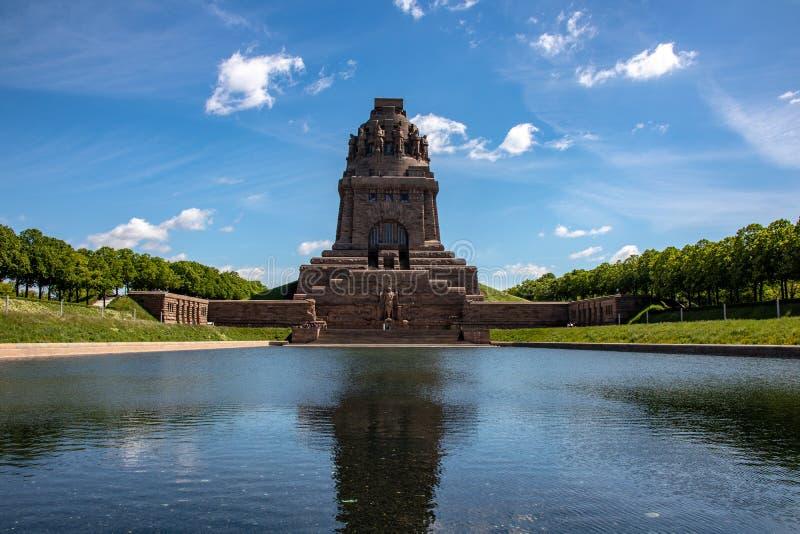 Vista dal monumento alla battaglia delle nazioni in Lipsia Germania fotografia stock