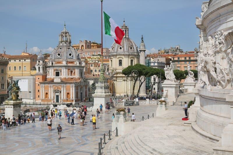 Vista dal monumento nazionale Vittorio Emanuele II, COM del museo fotografia stock libera da diritti