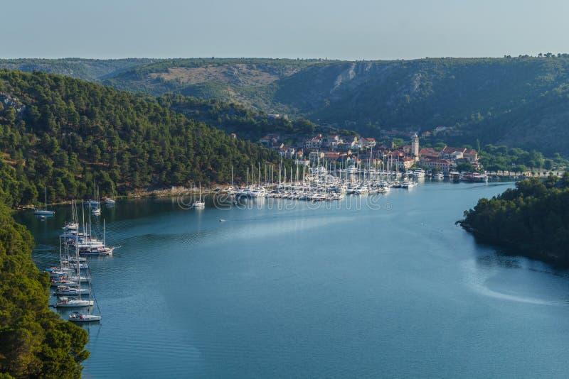 Vista dal ponte di Sibenik La Croazia fotografie stock
