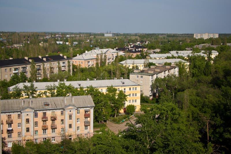 Vista dal tetto al vecchio distretto di Voronež immagini stock libere da diritti
