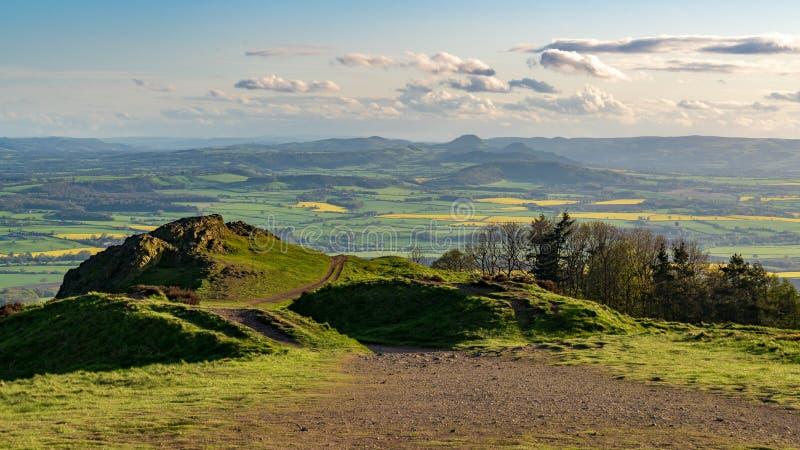 Vista dal Wrekin, Shropshire, Inghilterra, Regno Unito immagini stock