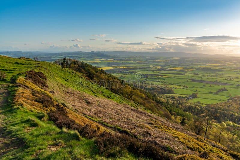 Vista dal Wrekin, Shropshire, Inghilterra, Regno Unito immagine stock