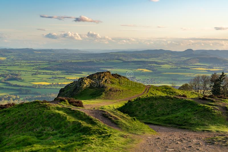 Vista dal Wrekin, Shropshire, Inghilterra, Regno Unito fotografie stock libere da diritti