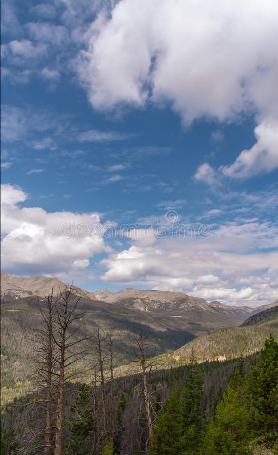 Vista dall'alta elevazione in Rocky Mountain National Forest in Co immagini stock