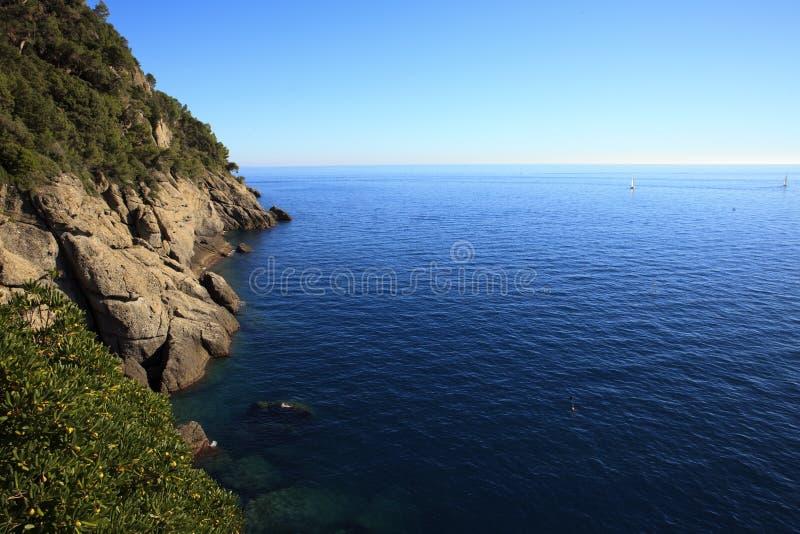 Vista dalla chiesa di Portofino, Genova, Liguria, Italia immagine stock