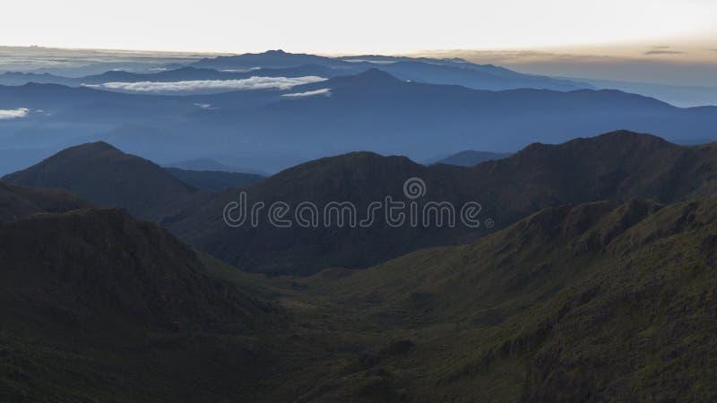 Vista dalla cima della montagna di Chirripo fotografia stock