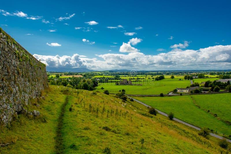Vista dalla collina con le pecore sopra paesaggio in Irlanda fotografia stock