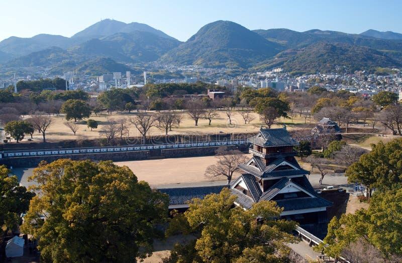 Vista dalla conservazione del castello del Kumamoto fotografia stock libera da diritti