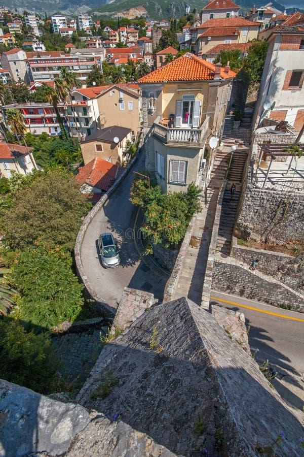Vista dalla giumenta in Castelnuovo, Montenegro di proprio forte fotografia stock libera da diritti