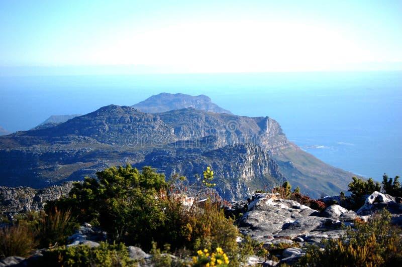 Vista dalla montagna della Tabella, Sudafrica, Cape Town fotografia stock libera da diritti