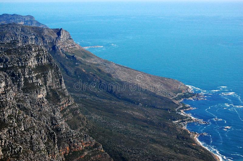 Vista dalla montagna della Tabella, Sudafrica, Cape Town immagini stock libere da diritti