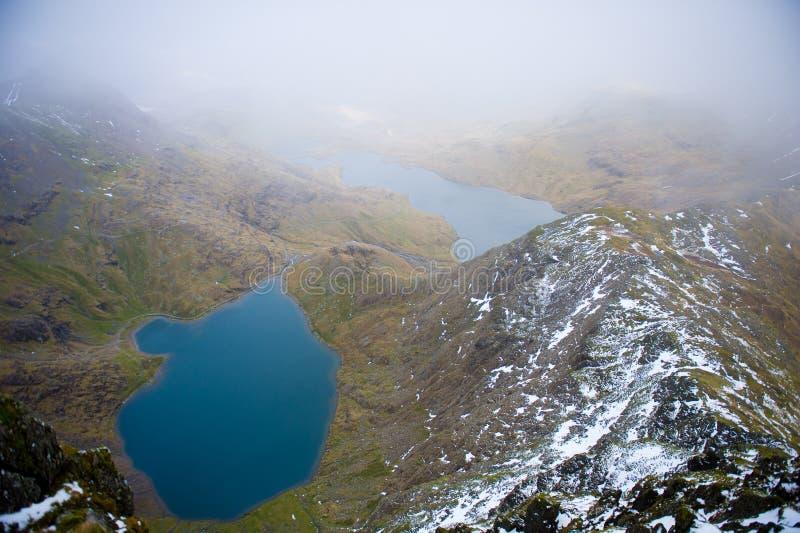 Vista dalla montagna di Snowdon, parco nazionale di Snowdonia immagini stock libere da diritti