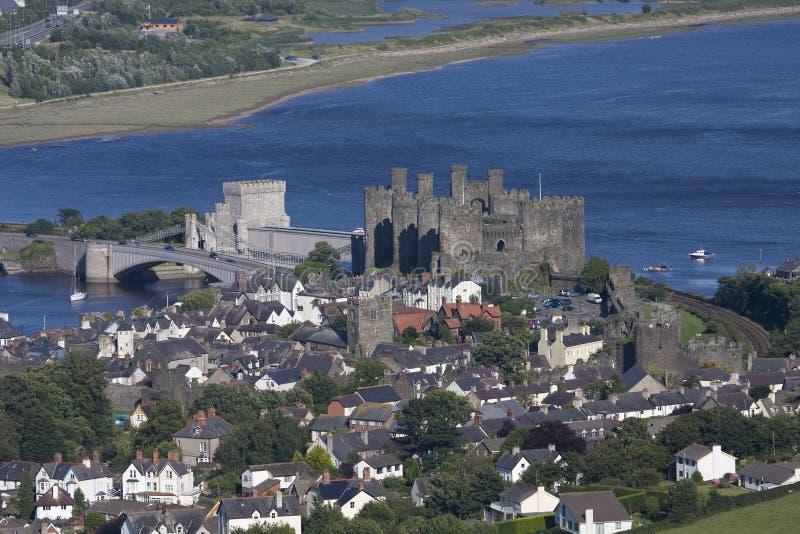 Vista dalla parte superiore della montagna di Conwy immagini stock libere da diritti