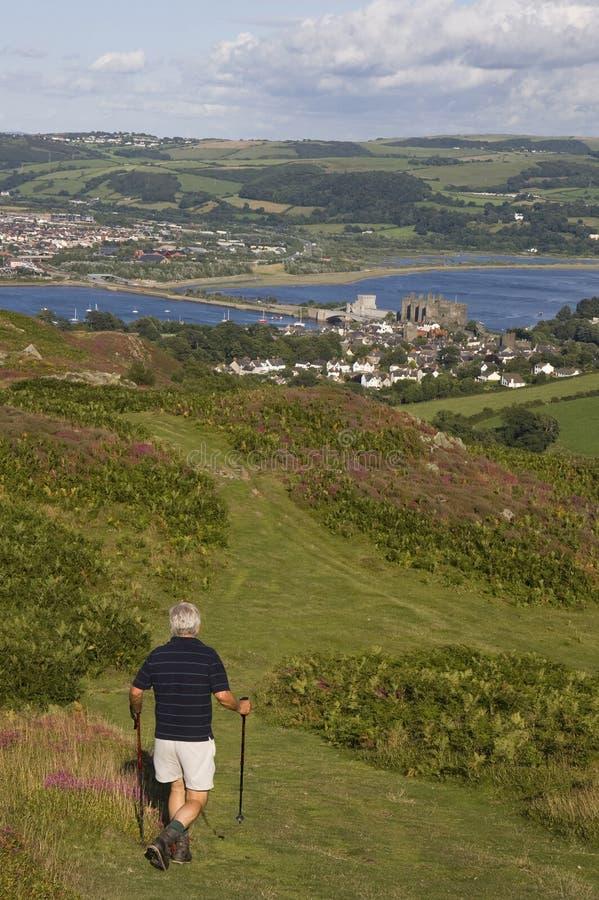 Vista dalla parte superiore della montagna di Conwy fotografia stock libera da diritti