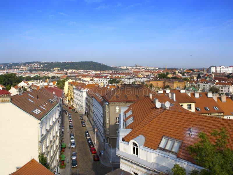 Vista dalla piattaforma di osservazione sulla vecchia città, Praga, repubblica Ceca immagine stock