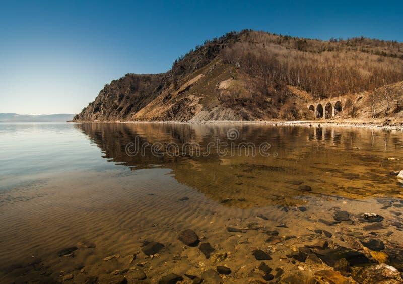 Vista dalla riva del lago Baikal fotografia stock libera da diritti