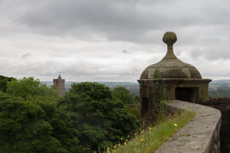 Vista dalle pareti di Stirling Castle a Stirling, Scozia fotografia stock